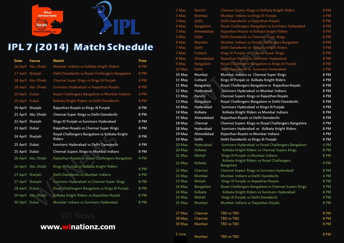 IPL 2014 SCHEDULE TIME TABLE EPUB